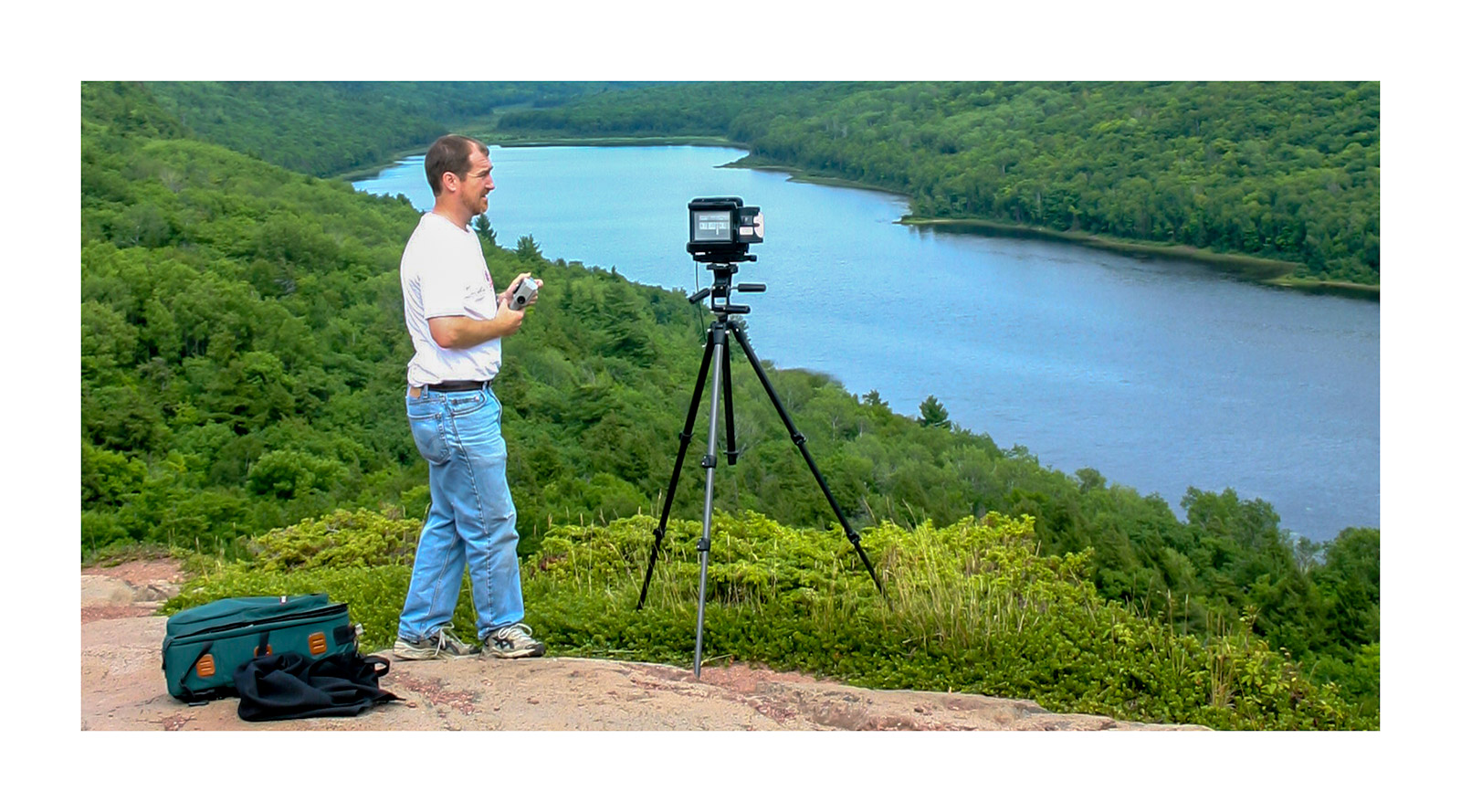 David using the Toyo 4x5 camera in 2005 at Lake of the Clouds, Porcupine Mountains Wilderness State Park, Michigan