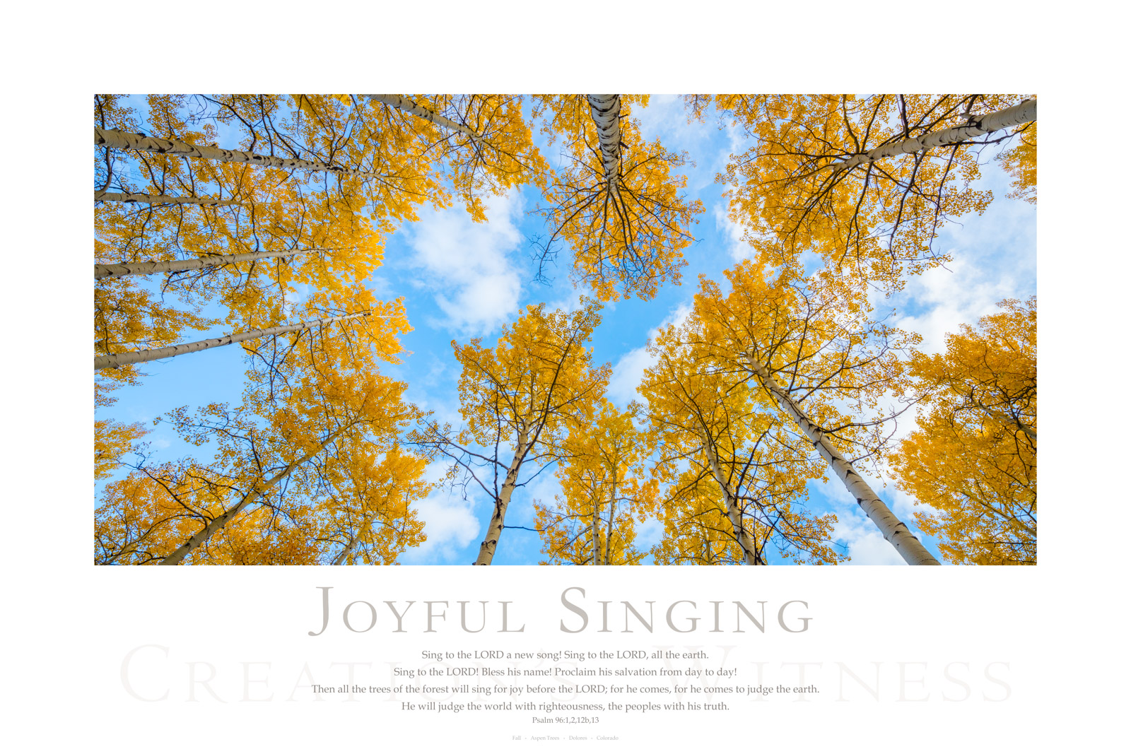 Sing to the LORD a new song! Sing to the LORD, all the earth. Sing to the LORD! Bless his name! Proclaim his salvation from day...