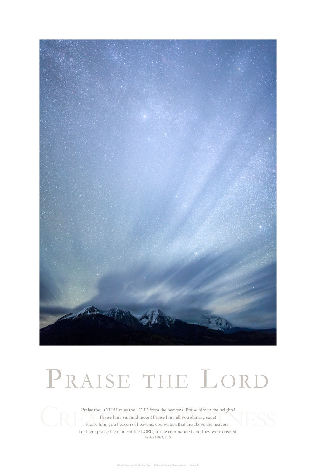 Praise the LORD! Praise the LORD from the heavens! Praise him in the heights! Praise him, sun and moon! Praise him, all you shining...