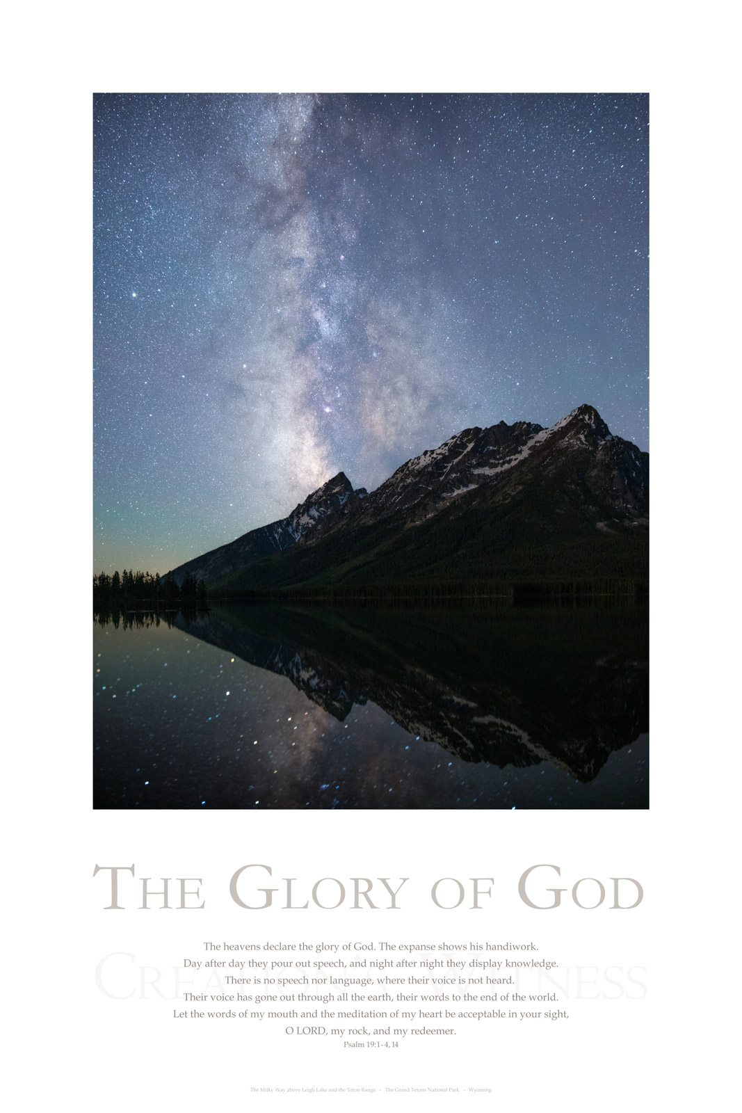 The heavens declare the glory of God. The expanse shows his handiwork. Day after day they pour out speech, and night after night...